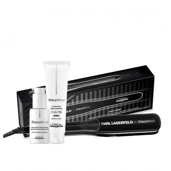 Edição limitada: Steampod 3.0 Karl Lagerfeld + Bolsa de pele cabelos finos